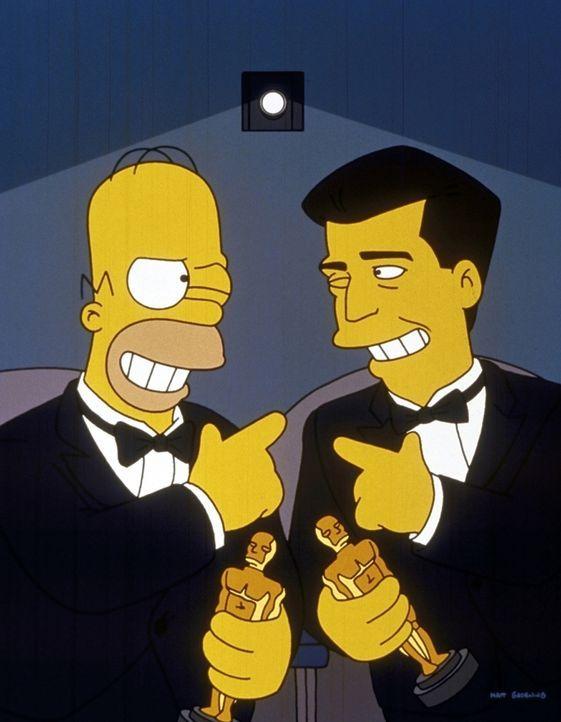 """Homer (l.) und Mel Gibson (r.) besuchen gemeinsam """"ihre"""" Filmpremiere. - Bildquelle: und TM Twenthieth Century Fox Film Corporation - Alle Rechte vorbehalten"""