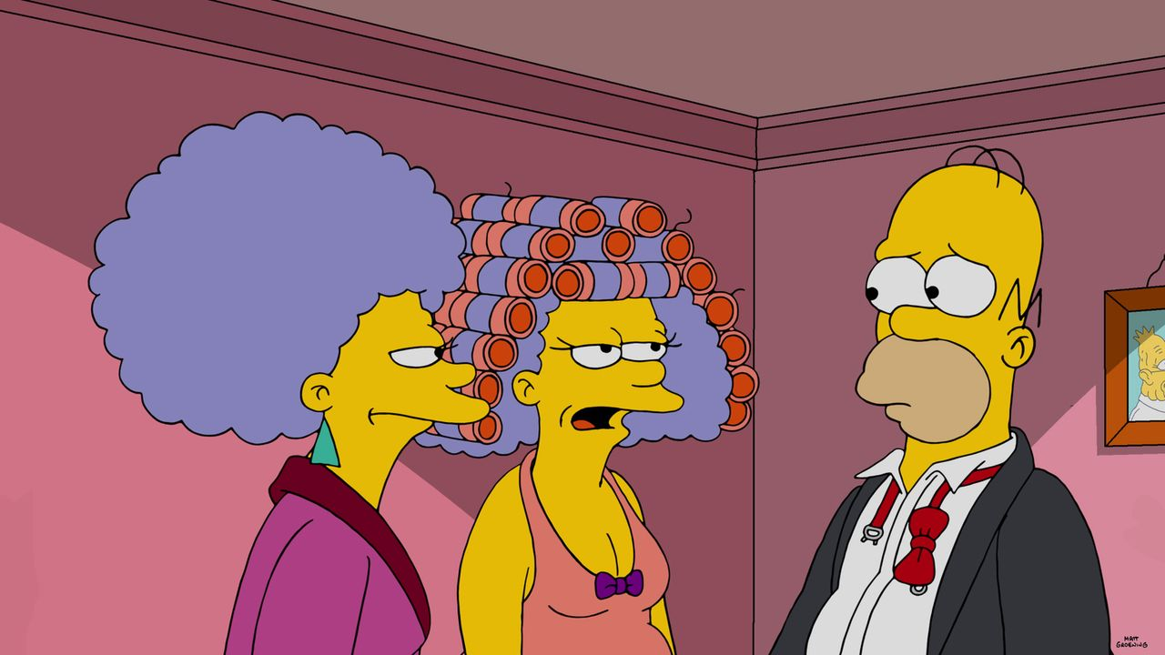 Entwickelt sich Homers (r.) Leben schon bald zum Alptraum? Marge bietet Patty (l.) und Selma (r.) an, vorrübergehend bei ihnen einzuziehen ... - Bildquelle: 2016-2017 Fox and its related entities. All rights reserved.