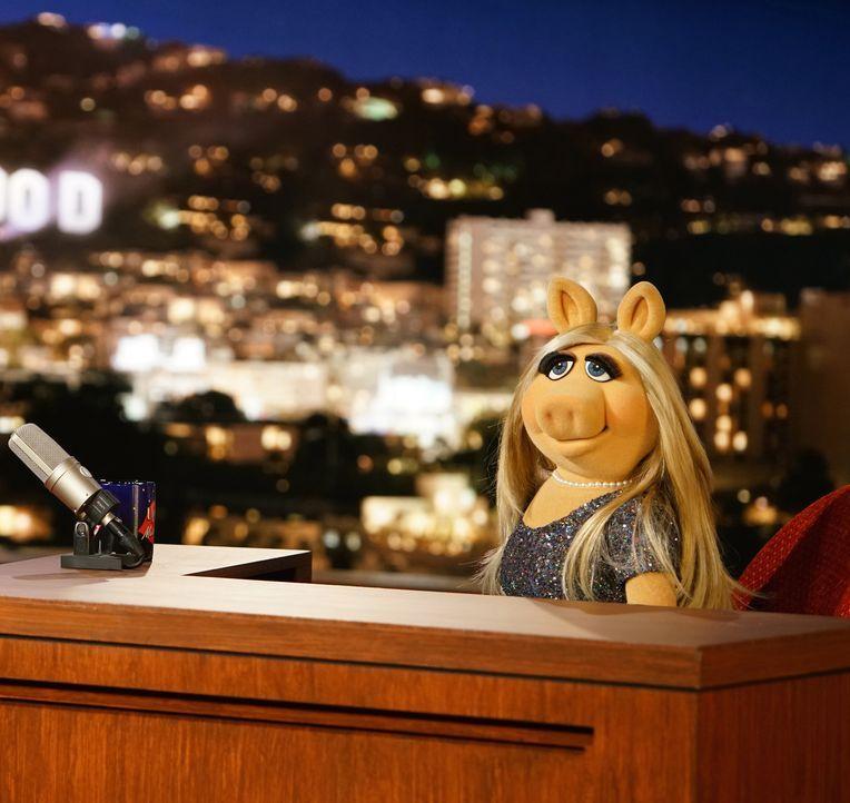 """Eine neue Ausgabe von """"Up Late with Miss Piggy"""" steht an. Doch Miss Piggy ist von ihrem Gast, der Schauspielerin und Regisseurin Elizabeth Banks, al... - Bildquelle: Andrea McCallin ABC Studios"""