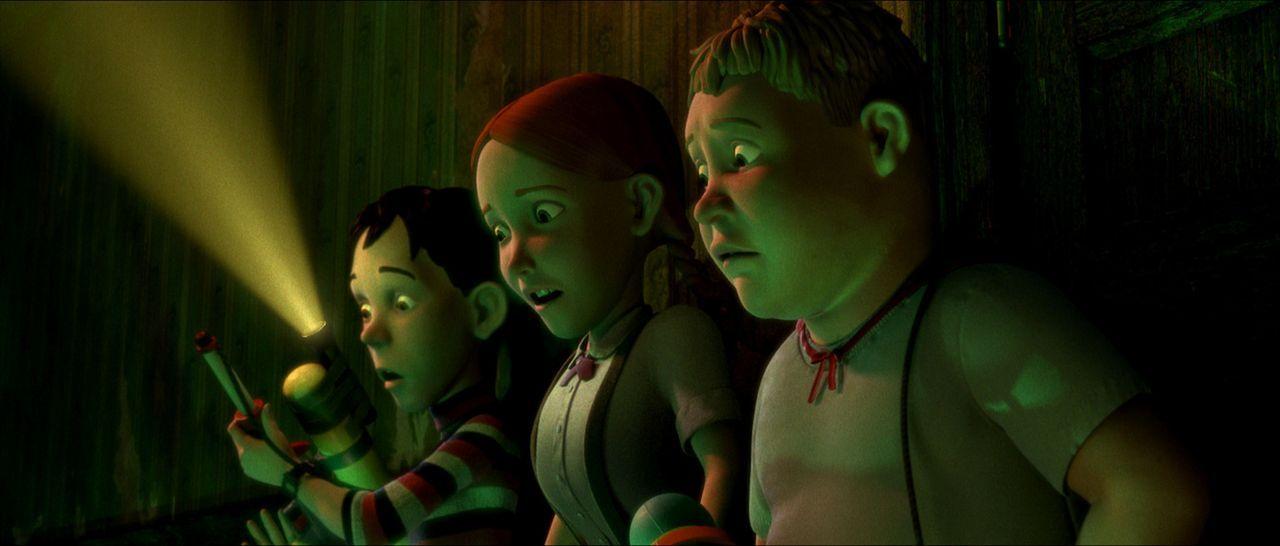 D.J. (l.), Jenny (M.) und Chowder (r.) stellen fest, dass das Äußere und Innere des Hauses aus Körperteilen besteht ? - Bildquelle: Sony Pictures Television International. All Rights Reserved.
