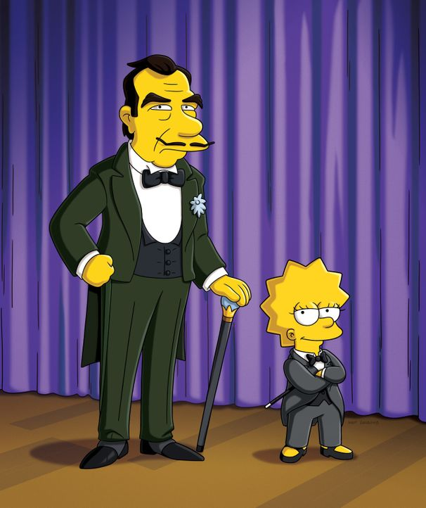 """Lisa (r.) freundet sich mit einem alten Magier (l.) an, der seine Zaubertricks an sie weitergibt. Sie tritt daraufhin als """"The Great Simpsina"""" auf,... - Bildquelle: und TM Twentieth Century Fox Film Corporation - Alle Rechte vorbehalten"""