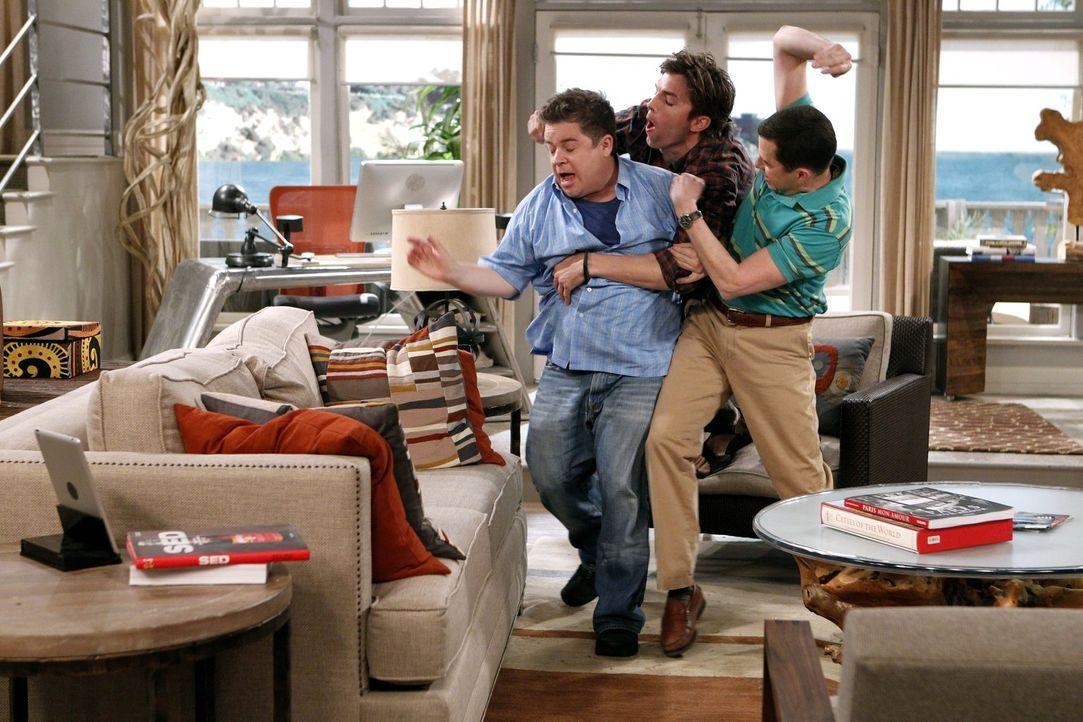 Was ist nur mit Walden (Ashton Kutcher, M.), Billy (Patton Oswalt, l.) und Alan (Jon Cryer, r.) los? - Bildquelle: Warner Brothers Entertainment Inc.