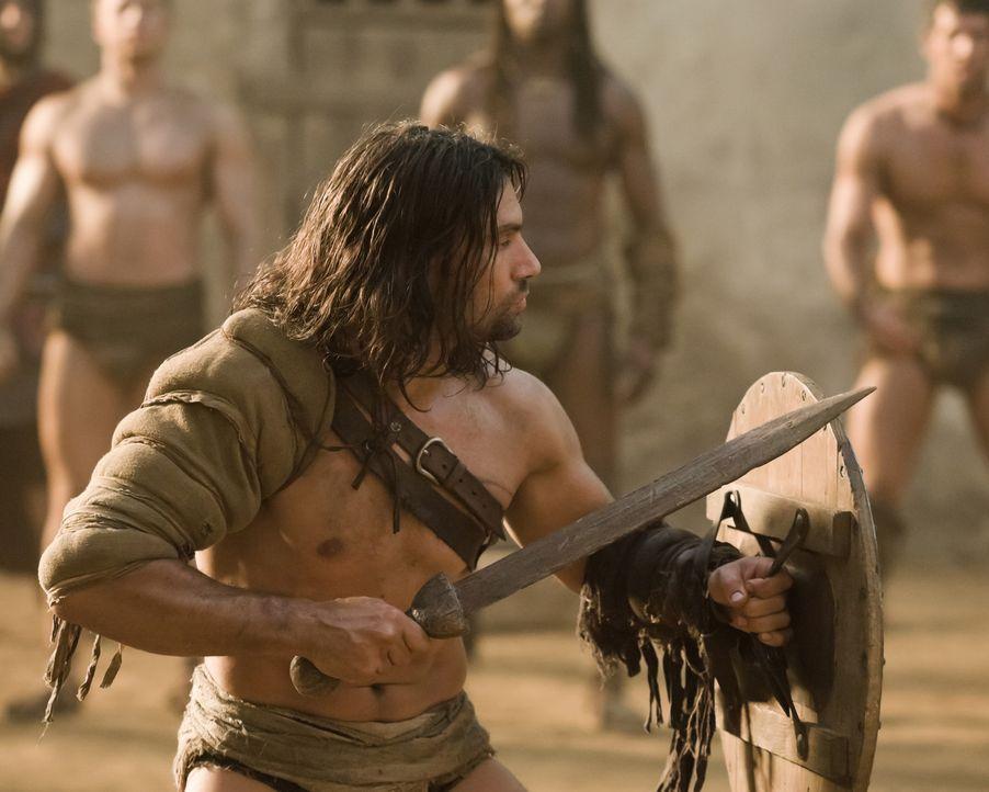 Muss sich unter Beweis stellen, um bei den Gladiatoren bestehen zu können: Crixus (Manu Bennett) ... - Bildquelle: 2010 Starz Entertainment, LLC