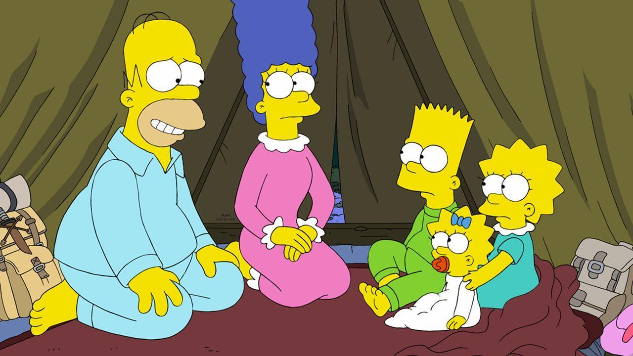 Da Homer (l.) im Glauben ist, dass der Weltuntergang naht, bringt Marge (2.v.l.), Bart (M.), Maggie (2.v.r.) und Lisa (r.) in ein geheimes Basislage... - Bildquelle: und TM Twentieth Century Fox Film Corporation - Alle Rechte vorbehalten