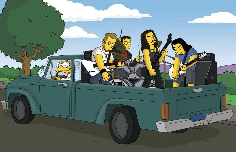 Hans Maulwurf (l.) nimmt die Band Metallica auf seinem Kleinlaster mit ... - Bildquelle: 2007FOX BROADCASTING