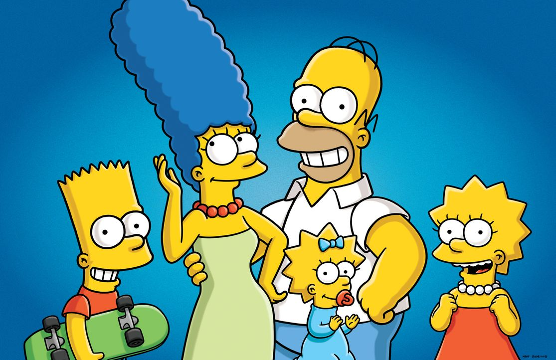 (26. Staffel) - Die Simpsons sind eine nicht alltägliche Familie: Maggie (2.v.r.), Marge (2.v.l.), Lisa (r.), Homer (M.) und Bart (l.) ... - Bildquelle: 2014 Fox and its related entities. All rights reserved
