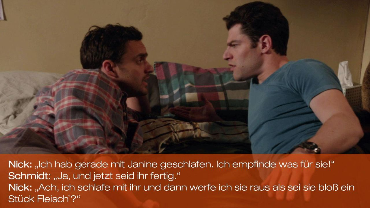 New Girl - Zitate - Staffel 1 Folge 19 - Nick (Jake Johnson) und Schmidt (Max Greenfield) 1600 x 900 - Bildquelle: 20th Century Fox