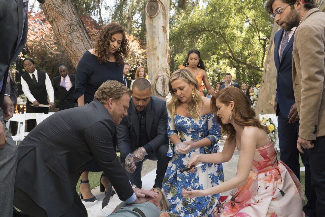 Müssen auch auf Hochzeiten Leben retten: (v.l.n.r.) Owen (Kevin McKidd), Catherine (Debbie Allen), Jackson (Jesse Williams), Arizona (Jessica Capsha... - Bildquelle: Eric McCandless 2017 American Broadcasting Companies, Inc. All rights reserved./Eric McCandless
