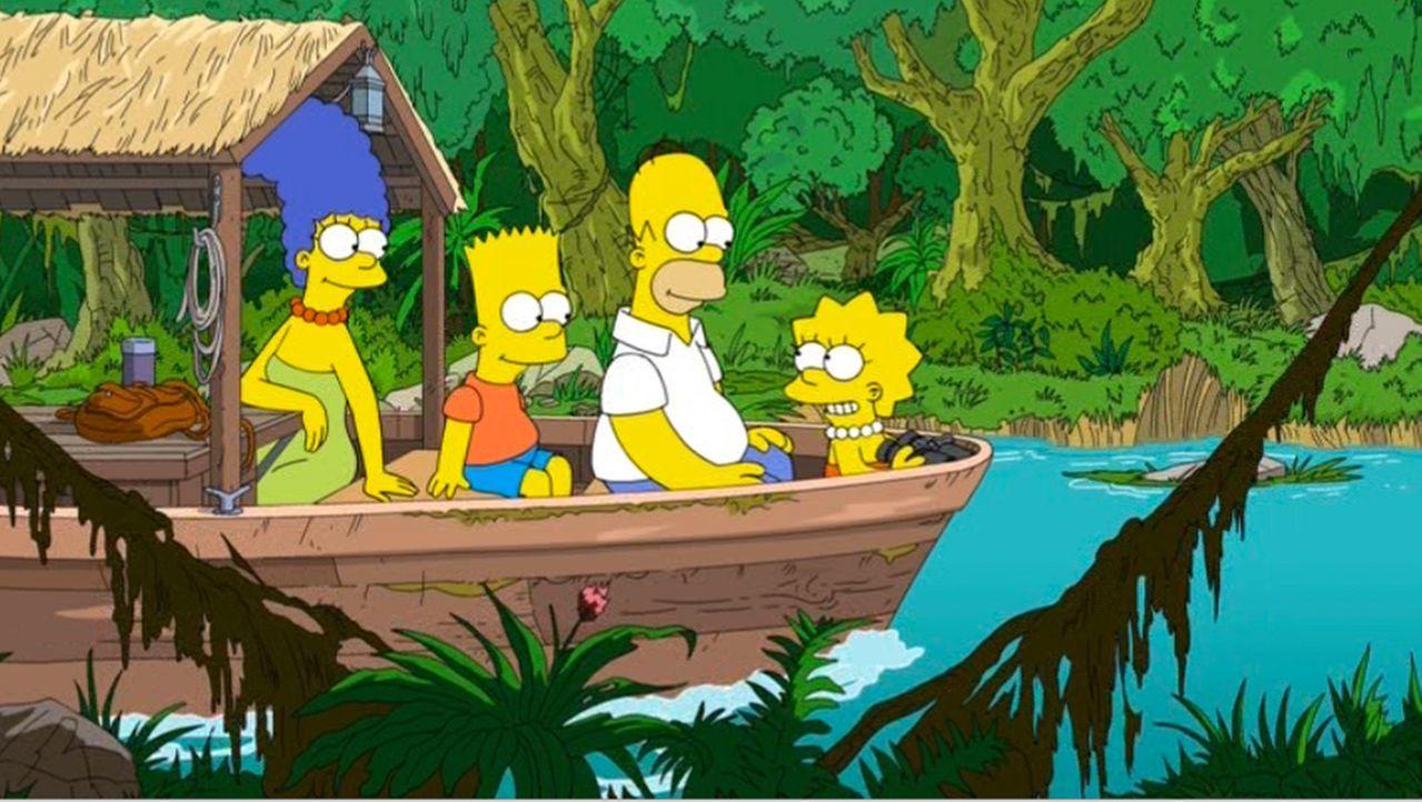 Homer (2.v.l.), Marge (l.) und die Kinder Bart (2.v.l.) und Lisa (r.) genießen die Zeit in Brasilien und gehen auf Entdeckungstour ... - Bildquelle: 2013 Twentieth Century Fox Film Corporation. All rights reserved.