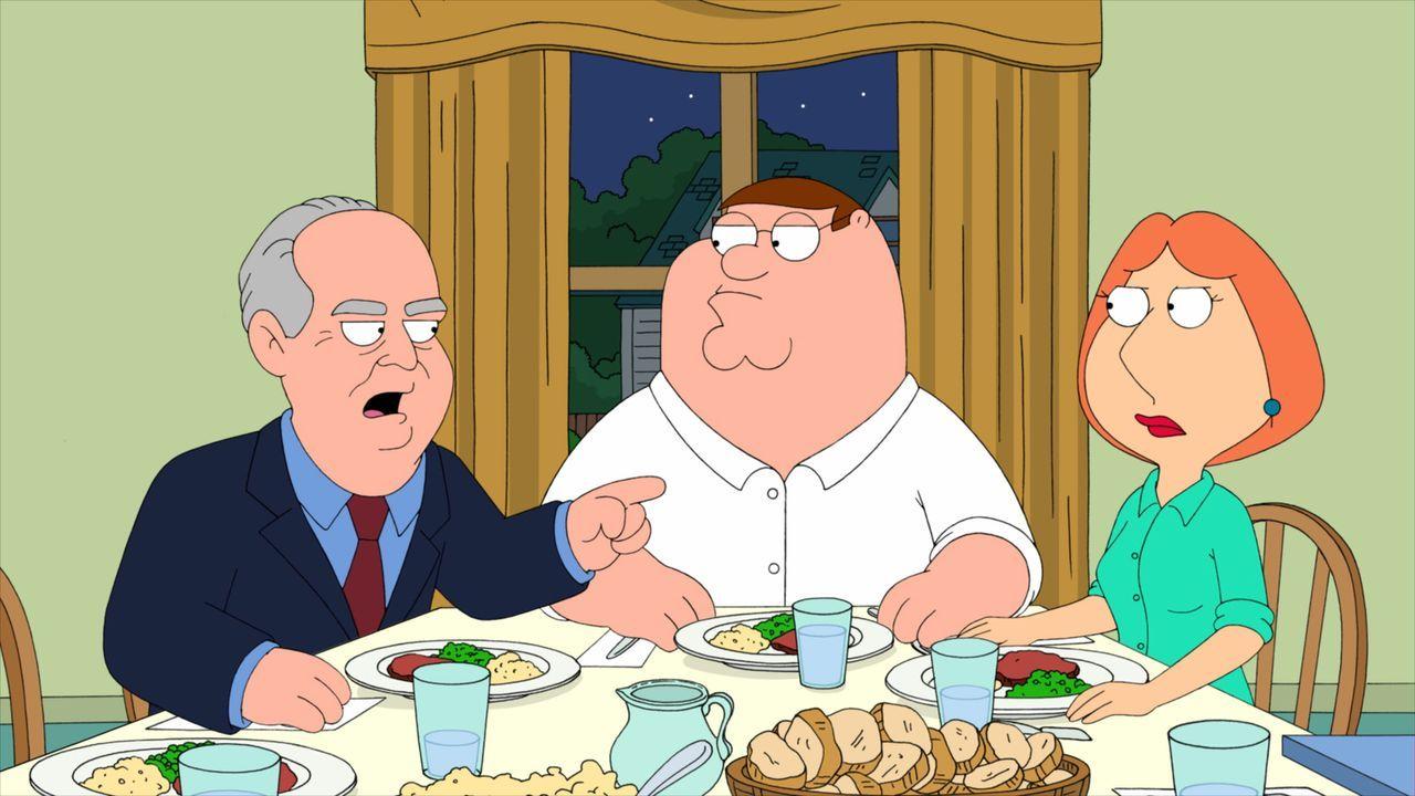 Der erzkonservative Republikaner Rush Limbaugh (l.) ist zu Gast bei Peter (M.) und Lois (r.) ... - Bildquelle: 2010 Twentieth Century Fox Film Corporation. All rights reserved.