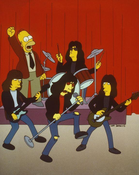 """Stolz präsentiert Homer (l.) seinem Chef Mr. Burns zum Geburtstag die berühmte Band """"Ramones"""". - Bildquelle: und TM Twenthieth Century Fox Film Corporation - Alle Rechte vorbehalten"""