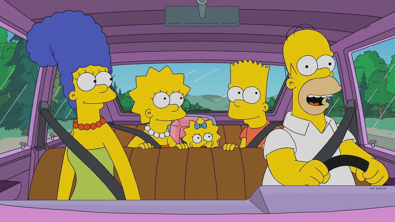 (v.l.n.r.) Marge; Lisa; Maggie; Bart; Homer - Bildquelle: 2018-2019 Fox and its related entities.  All rights reserved.