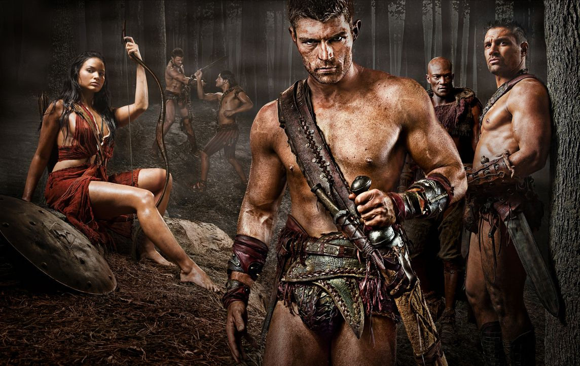 Machen den Römern das Leben schwer: Mira (Katrina Law), Spartacus (Liam McIntyre), Drago (Peter Mensah) und Crixus ( Manu Bennett) ... - Bildquelle: 2011 Starz Entertainment, LLC. All rights reserved.