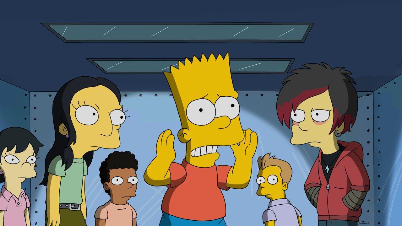 Bart (3.v.r.) hat einen ganz gewöhnlichen Weg gefunden, um an Ruhm zu gelangen. Doch wird er damit wirklich den gewünschten Erfolg erzielen? - Bildquelle: 2015 Fox and its related entities.  All rights reserved.