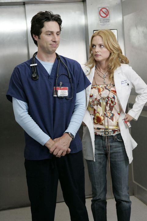 J.D. (Zach Braff, l.) beginnt sich für die attraktive Molly (Heather Graham, r.) zu interessieren - womit neuer Ärger vorprogrammiert ist ... - Bildquelle: Touchstone Television
