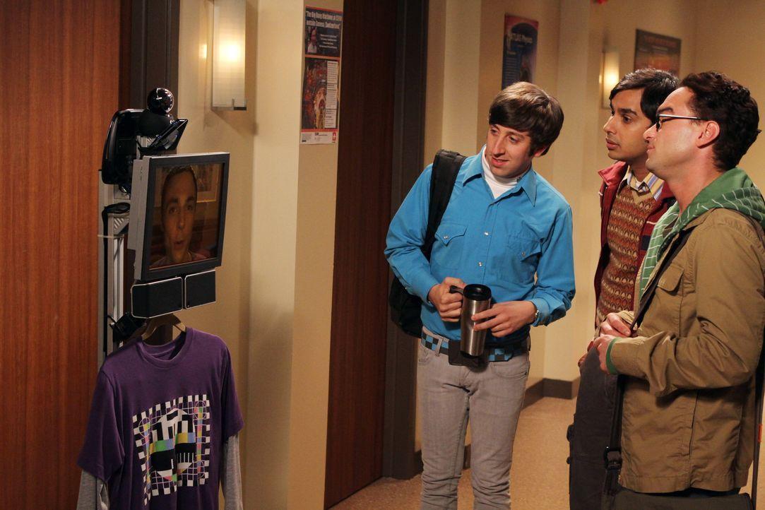 Sheldon (Jim Parsons, l.) kommuniziert über ein mobiles Gerät mit seinen Freunden Wolowitz (Simon Helberg, 2.v.l.), Koothrappali (Kunal Nayyar, 2.... - Bildquelle: Warner Bros. Television