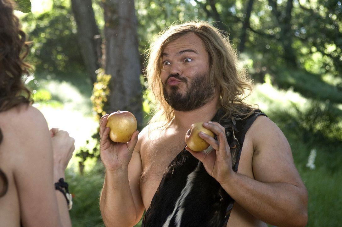 Als Zed (Jack Black, r.) verbotenerweise eine Frucht vom Baum der Erkenntnis nascht, wird er aus seinem Steinzeit-Dorf verbannt. Eher aus Versehen s... - Bildquelle: 2009 Columbia Pictures Industries, Inc. All Rights Reserved.