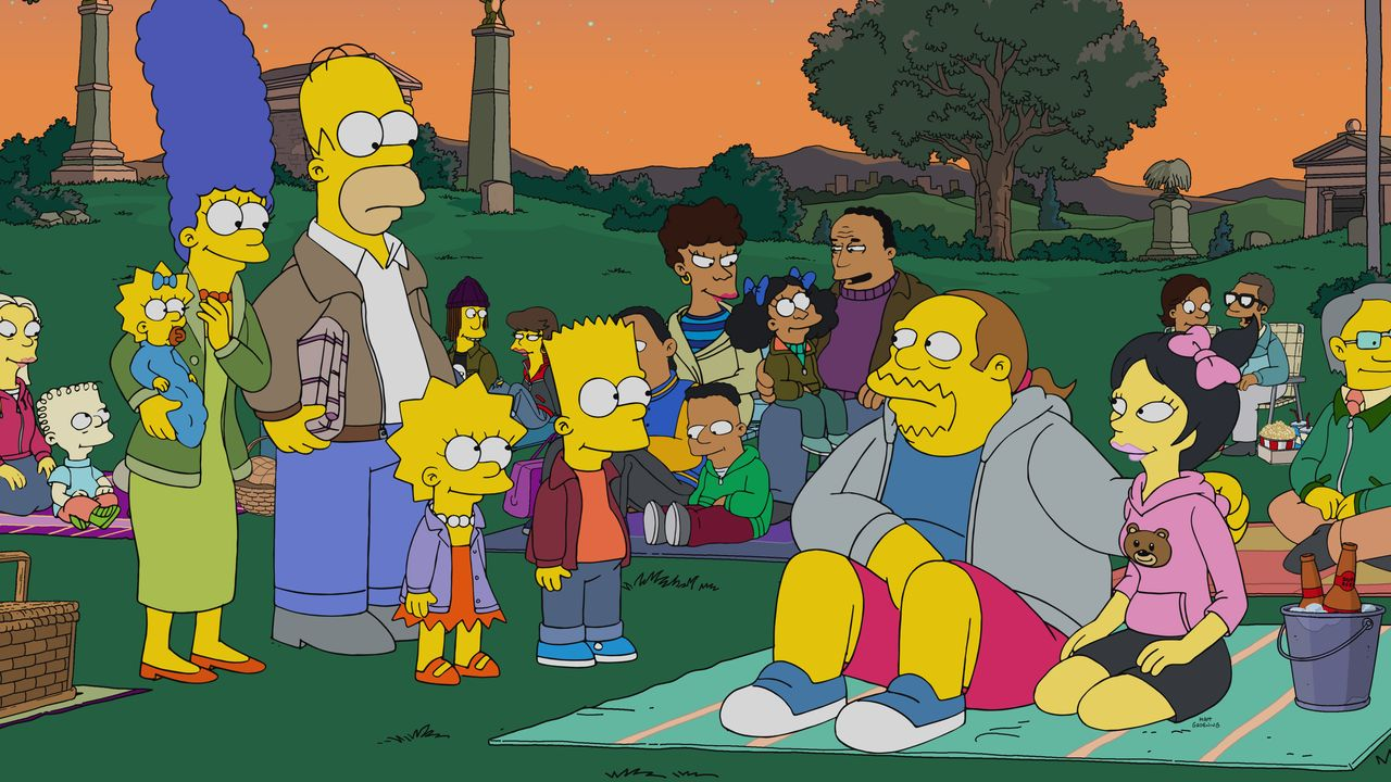 (v.l.n.r.) Maggie; Marge; Homer; Lisa; Bart; Jeff; Kumiko - Bildquelle: 2020 by Twentieth Century Fox Film Corporation.