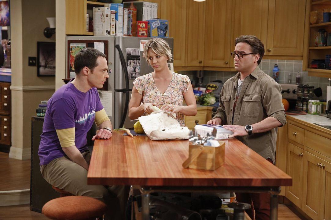 Beim Erklären seiner eigenen Beziehungsprobleme bringt Sheldon (Jim Parsons, l.) Leonard (Johnny Galecki, r.) und Penny (Kaley Cuoco, M.) auf eine r... - Bildquelle: Warner Bros. Television