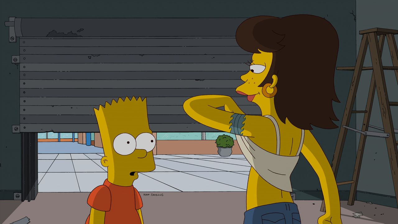 Jimbo braucht jemanden, der auf seine Freundin Shauna (r.) aufpasst, während er sich einen Horrorstreifen anschaut. Die Wahl fällt auf Bart (l.) -... - Bildquelle: und TM Twentieth Century Fox Film Corporation - Alle Rechte vorbehalten