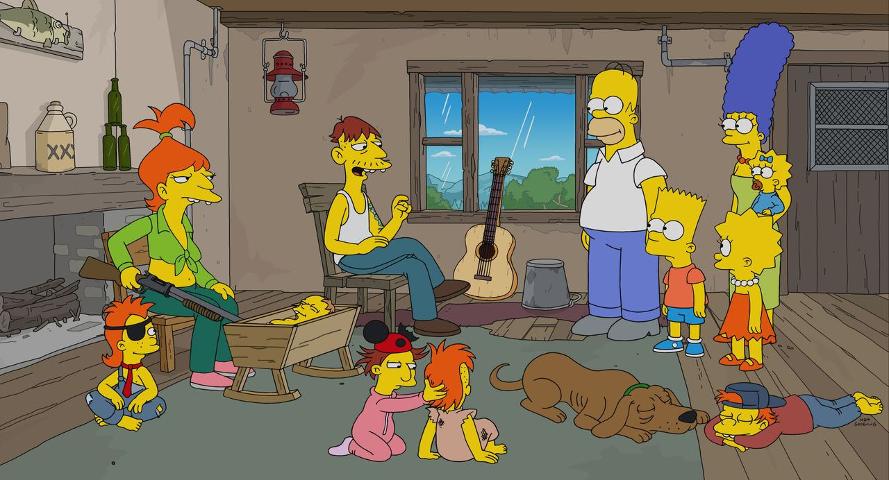 (hinten v.l.n.r.) Brandine; Cletus; Homer; Bart; Lisa; Marge; Maggie - Bildquelle: 2021 by 20th Television.