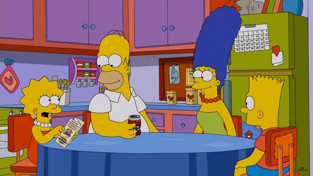 Arbeiten zusammen im Sandwichladen, bis etwas Schreckliches passiert: (v.l.n.r.) Lisa, Homer, Marge und Bart ... - Bildquelle: 2014 Twentieth Century Fox Film Corporation. All rights reserved.