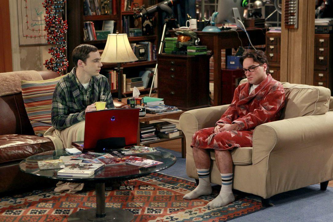 Leonard (Johnny Galecki, r.) ist irritiert, weil sich ausgerechnet Jimmy Speckerman mit ihm treffen will. Jimmy ist der Typ, der ihn an der Highscho... - Bildquelle: Warner Bros. Television