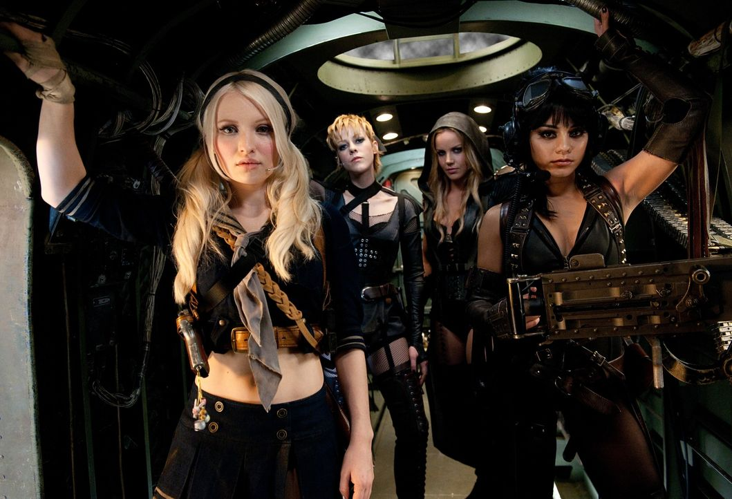 (v.l.n.r.) Babydoll (Emily Browning); Rocket (Jena Malone); Sweet Pea (Abbie Cornish); Blondie (Vanessa Hudgens) - Bildquelle: Warner Bros.
