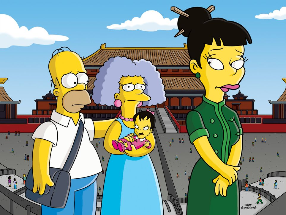 Selma (M.) entschließt sich, ein Kind zu adoptieren. Und da dies am einfachsten in China sein soll, fliegt sie mit der gesamten Familie Simpson nac... - Bildquelle: und TM Twentieth Century Fox Film Corporation - Alle Rechte vorbehalten