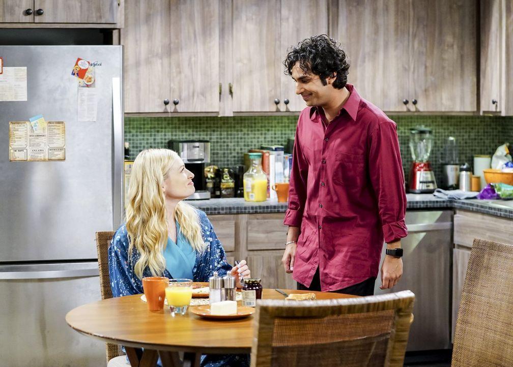 Als Nells (Beth Behrs, l.) Ehemann erfährt, dass sie ihm fremdgeht, wird Raj (Kunal Nayyar, r.) plötzlich in einen handfesten Ehestreit hineingezoge... - Bildquelle: Warner Bros. Television