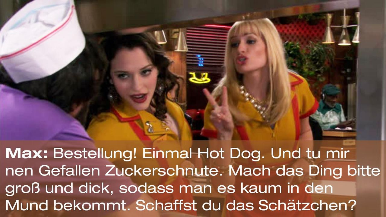 2-broke-girls-zitat-episode-14-staffel-1-unbekannte-nachbar-max-hot-dog-warnerpng 1600 x 900 - Bildquelle: Warner Brothers Entertainment Inc.