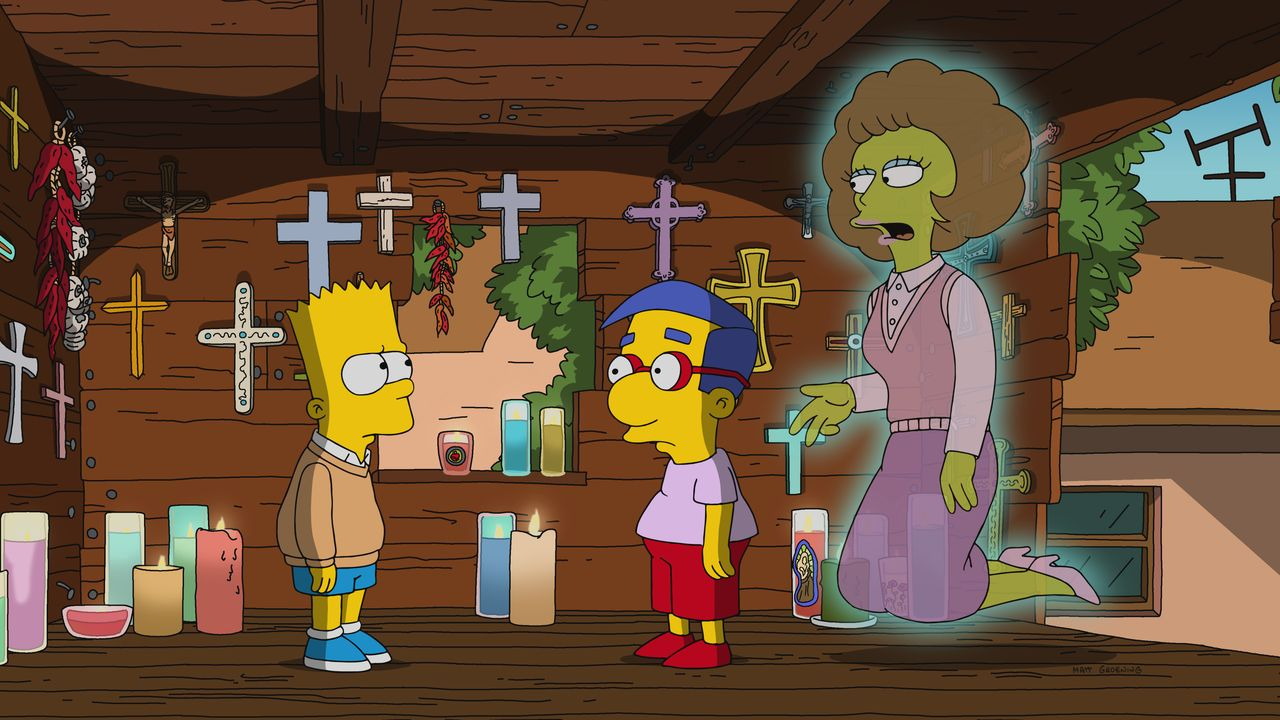 (v.l.n.r.) Bart; Milhouse; Maude - Bildquelle: 2017-2018 Fox and its related entities.  All rights reserved.