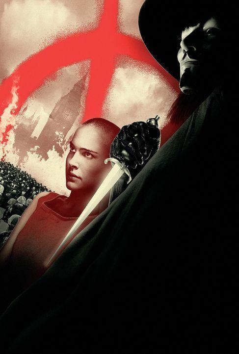 Vendetta (Hugo Weaving, r.) ist ein maskierter Freiheitskämpfer, der es sich zum Ziel gesetzt hat, das Regime des Kanzlers zu beenden! Bei einem sei... - Bildquelle: Warner Bros. Pictures