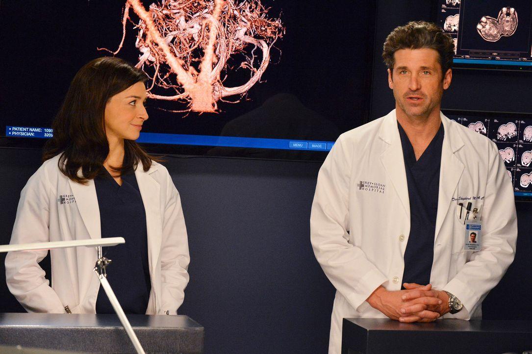 Derek (Patrick Dempsey, r.) und Amelia (Caterina Scorsone, l.) arbeiten unterdessen bei einer schwierigen Operation zusammen, während April und Jack... - Bildquelle: ABC Studios