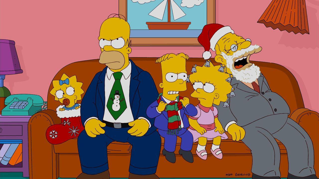 Ein ganz besonderes Weihnachtsfest: (v.l.n.r.) Maggie, Homer, Bart, Lisa und Grandpa ... - Bildquelle: und TM Twentieth Century Fox Film Corporation - Alle Rechte vorbehalten