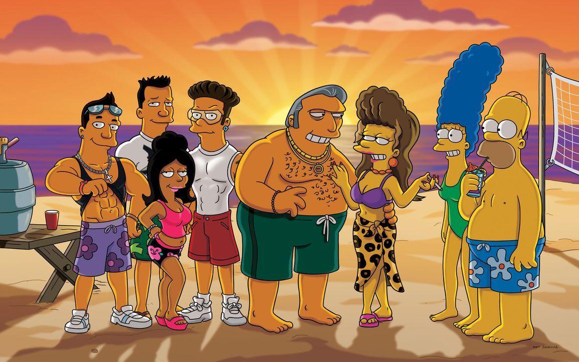Die Mafiosi-Braut: Fat Tony (4.v.r.), Selma (3.v.r.), Marge (2.v.r.) und Homer (r.) ... - Bildquelle: und TM Twentieth Century Fox Film Corporation - Alle Rechte vorbehalten