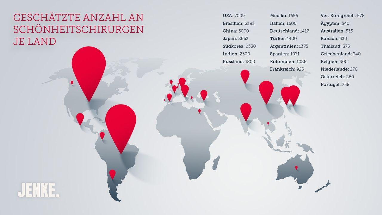 Geschätzte Anzahl Schönheitschirurgen je Land - Bildquelle: ProSieben