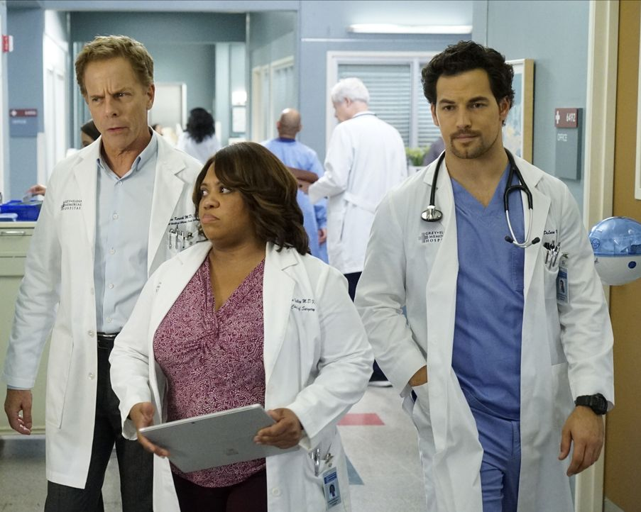 (v.l.n.r.) Dr. Thomas Koracick (Greg Germann); Dr. Miranda Bailey (Chandra Wilson); Dr. Andrew DeLuca (Giacomo Gianniotti) - Bildquelle: Kelsey McNeal 2020 American Broadcasting Companies, Inc. All rights reserved. / Kelsey McNeal