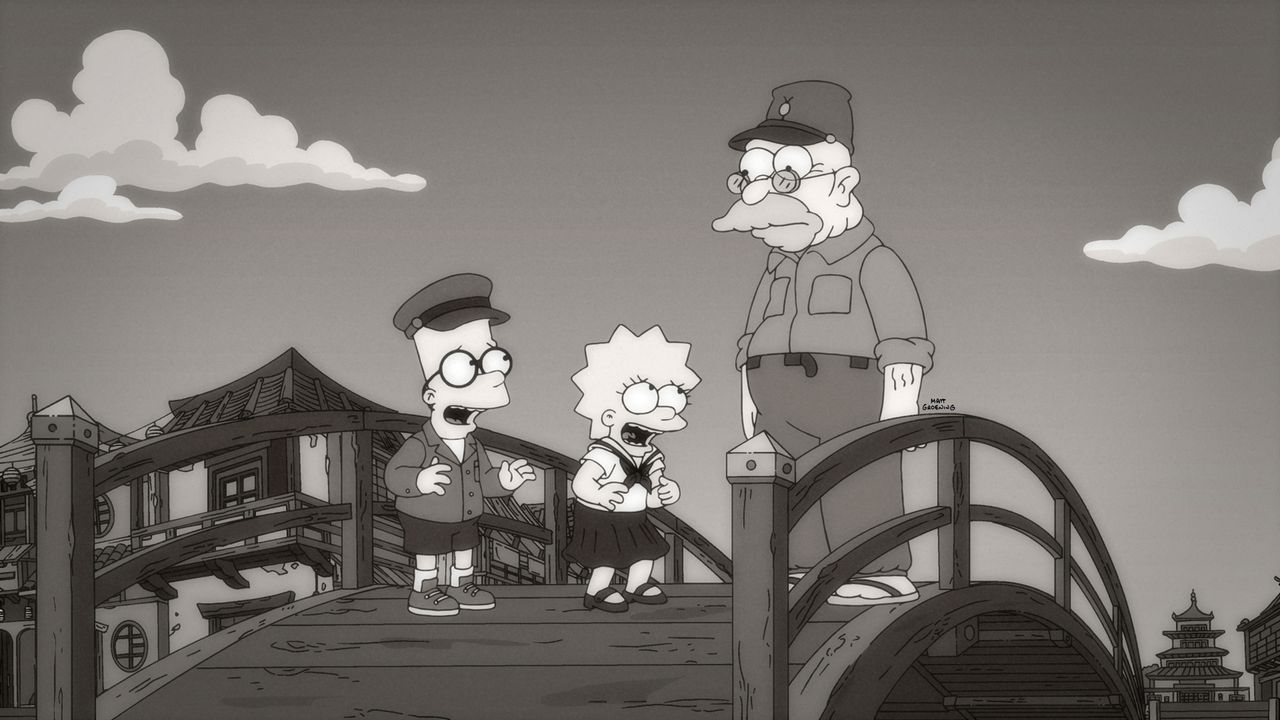 Die ganze Stadt glaubt, dass Barts (l.) und Lisas (M.) Großvater (r.) verrückt ist, da er, um das Seemonster Homerzilla zu besänftigen jeden Tag ein... - Bildquelle: 2015 Fox and its related entities.  All rights reserved.