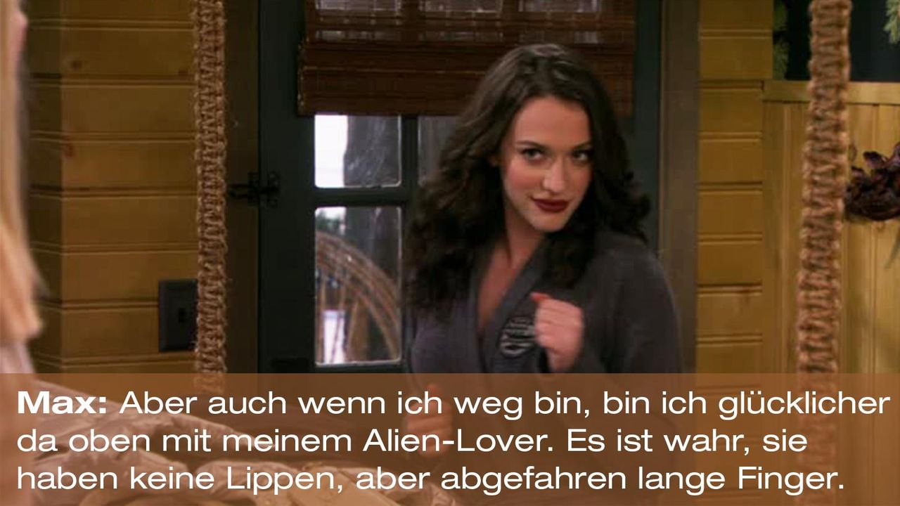 2-broke-girls-zitat-quote-staffel2-episode13-wochenende-max-aliens-warnerpng 1600 x 900 - Bildquelle: Warner Bros. Television