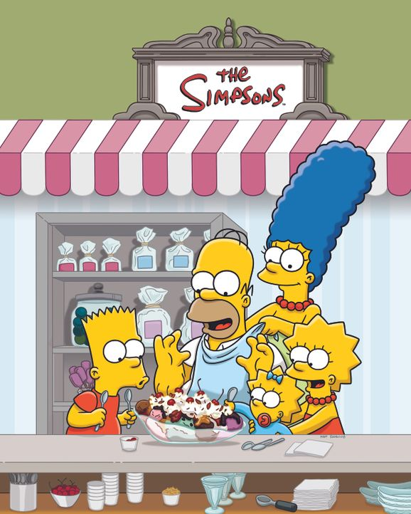(26. Staffel) - Eine nicht alltägliche Familie: Marge (2.v.r.), Maggie (M.), Bart (l.), Lisa (r.) und Homer Simpson (2.v.l.) ... - Bildquelle: 2014 Fox and its related entities. All rights reserved