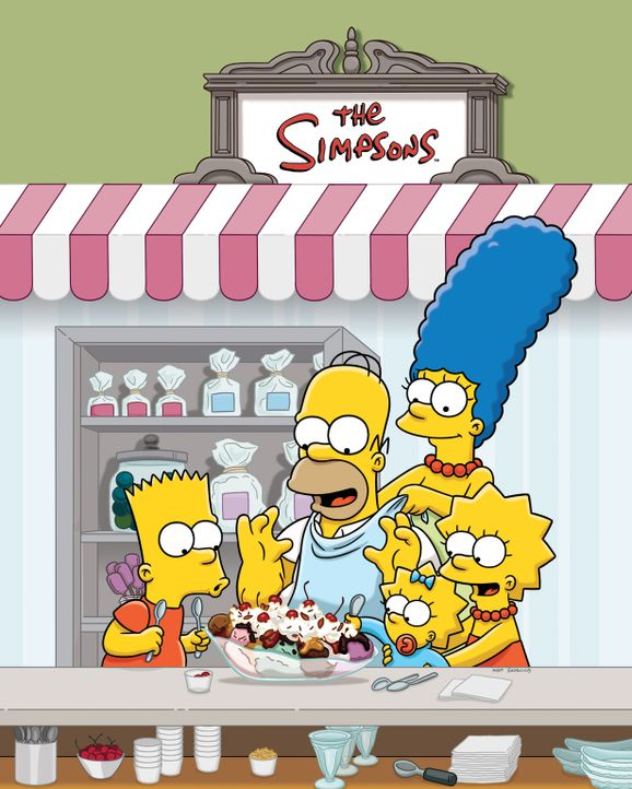 (25. Staffel) - Die Simpsons: Maggie (M.), Marge (2.v.r.), Homer (2.v.l.), Bart (l.) und Lisa Simpson (r.) ... - Bildquelle: 2014 Twentieth Century Fox Film Corporation. All rights reserved.