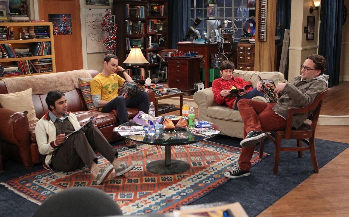 Ganz besondere Freunde: Howard (Simon Helberg, 2.v.r.), Sheldon (Jim Parsons, 2.v.l.), Leonard (Johnny Galecki, r.) und Raj (Kunal Nayyar, l.) ... - Bildquelle: Warner Brothers