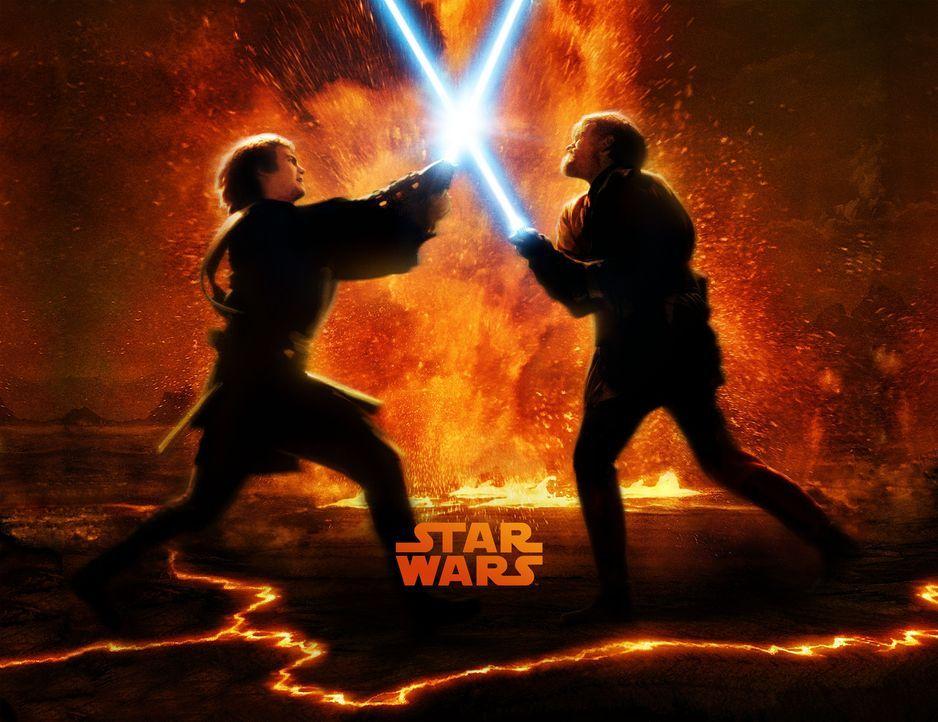 STAR WARS: EPISODE III - DIE RACHE DER SITH - Plakatmotiv: Zwischen Obi-Wan Kenobi (Ewan McGregor, r.) und seinem ehemaligen Schüler Anakin Skywalk... - Bildquelle: Lucasfilm Ltd. & TM. All Rights Reserved.