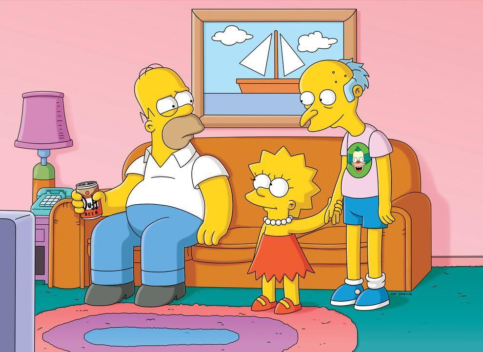 Nach dem Sturz von einer Klippe, verliert Mr. Burns (r.) sein Gedächtnis. Lisa (M.) beschließt, ihm zu helfen, wovon Homer (l.) alles andere als b... - Bildquelle: und TM Twentieth Century Fox Film Corporation - Alle Rechte vorbehalten