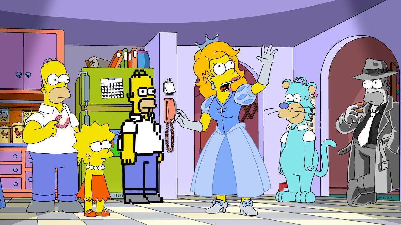 (v.l.n.r.) Homer; Lisa; Pixel-Homer; Disneyprinzessin-Homer; Homer Barbera; Noir-Homer - Bildquelle: 2020 by Twentieth Century Fox Film Corporation.