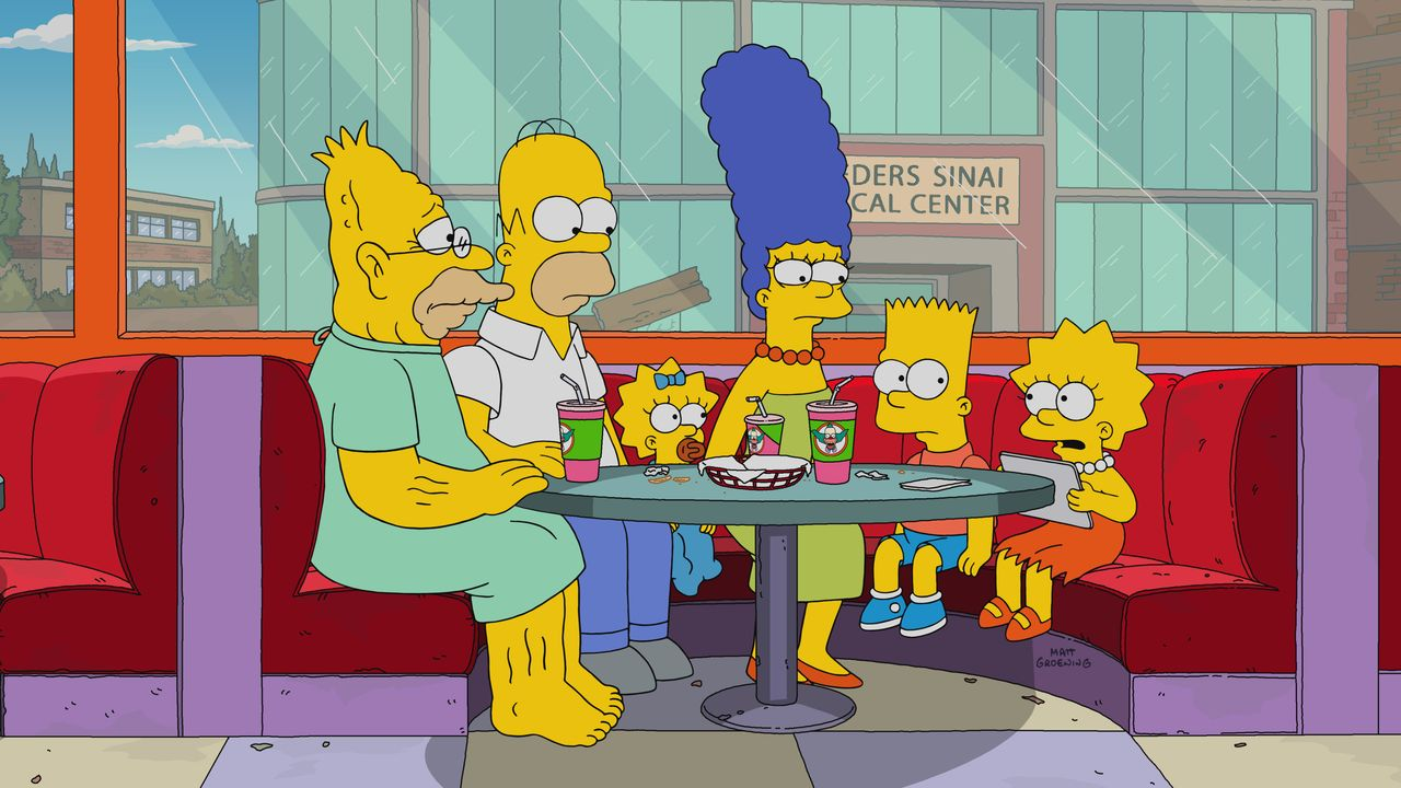 (v.l.n.r.) Grampa; Homer; Maggie; Marge; Bart; Lisa - Bildquelle: 2017-2018 Fox and its related entities. All rights reserved.