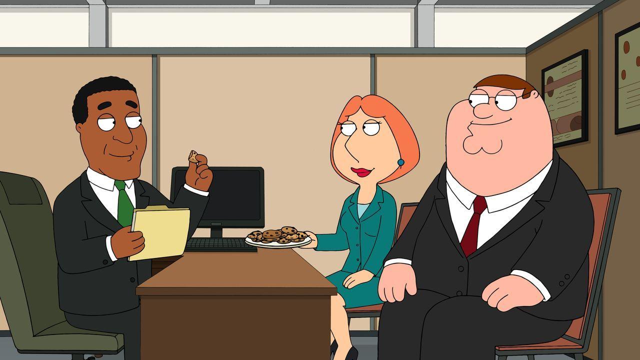 Zu den Verhandlungen bringen Lois (M.) und Peter (r.) Bestechungskekse mit. Doch der Bankangestellte (l.) hat Argumente, mit denen die beiden nicht... - Bildquelle: 2015-2016 Fox and its related entities. All rights reserved.
