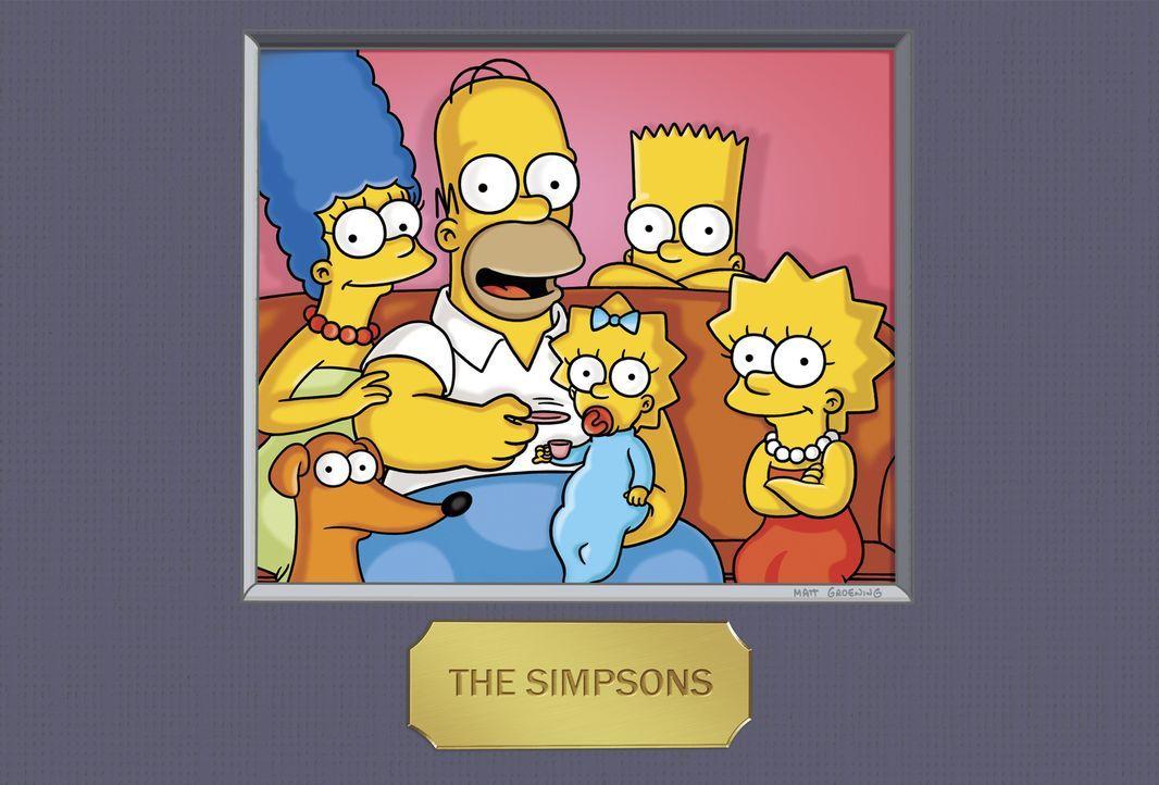(23. Staffel) - Die Simpsons: Maggie (3.v.l.), Marge (l.), Homer (2.v.l.), Bart (2.v.r.) und Lisa Simpson (r.) ... - Bildquelle: und TM Twentieth Century Fox Film Corporation - Alle Rechte vorbehalten