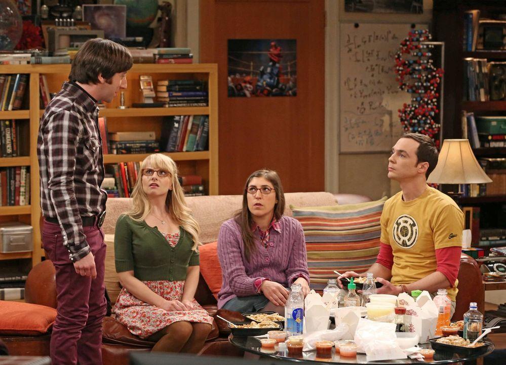 Sind sich nicht immer einig: Bernadette (Melissa Rauch, 2.v.l.), Howard (Simon Helberg, l.), Amy (Mayim Bialik, 2.v.r.) und Sheldon (Jim Parsons, r.... - Bildquelle: Warner Brothers
